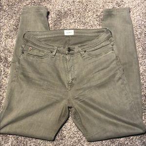 Hudson olive green Natalie crop skinny jeans
